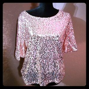 Tops - NWOT -Blush Pink Sequins Top.